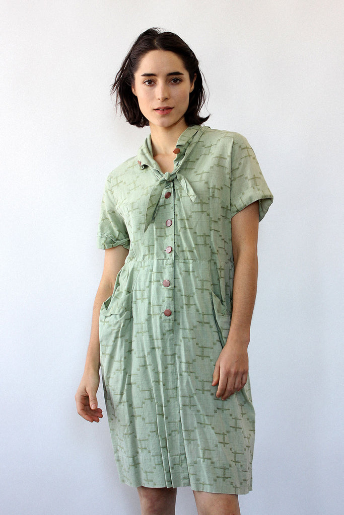 Celery Green Cotton Dress M