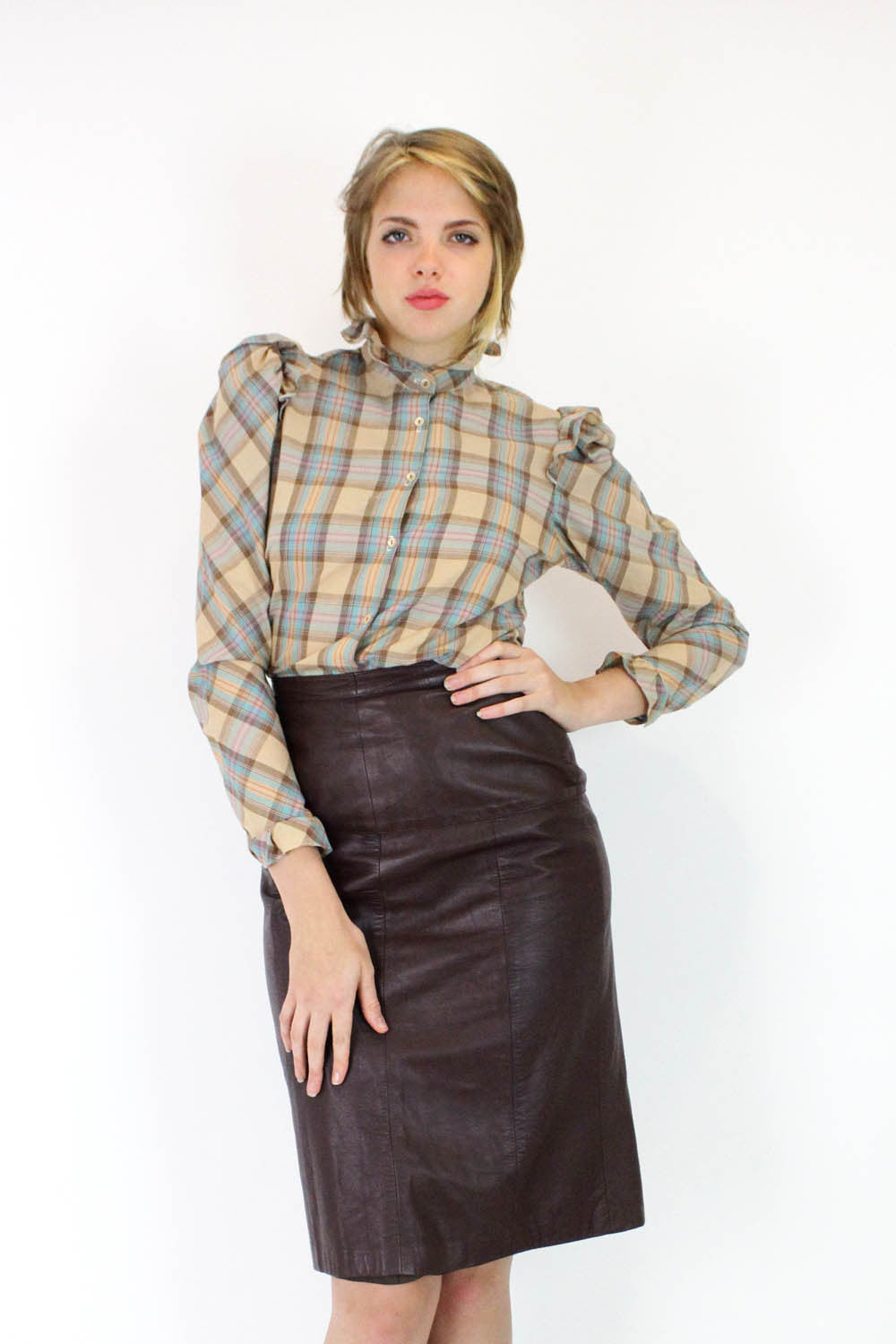 Cordovan Leather High Waist Skirt M