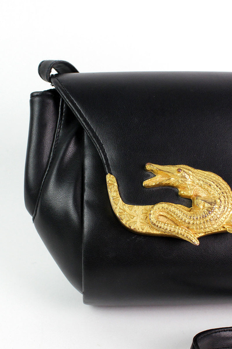 Gold Alligator Crossbody Bag