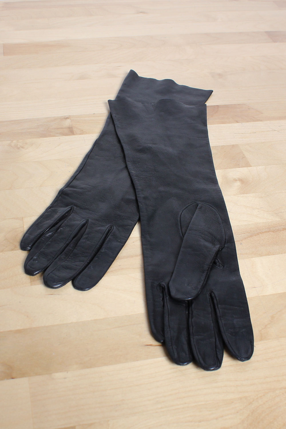 Ebony Leather Elbow Gloves