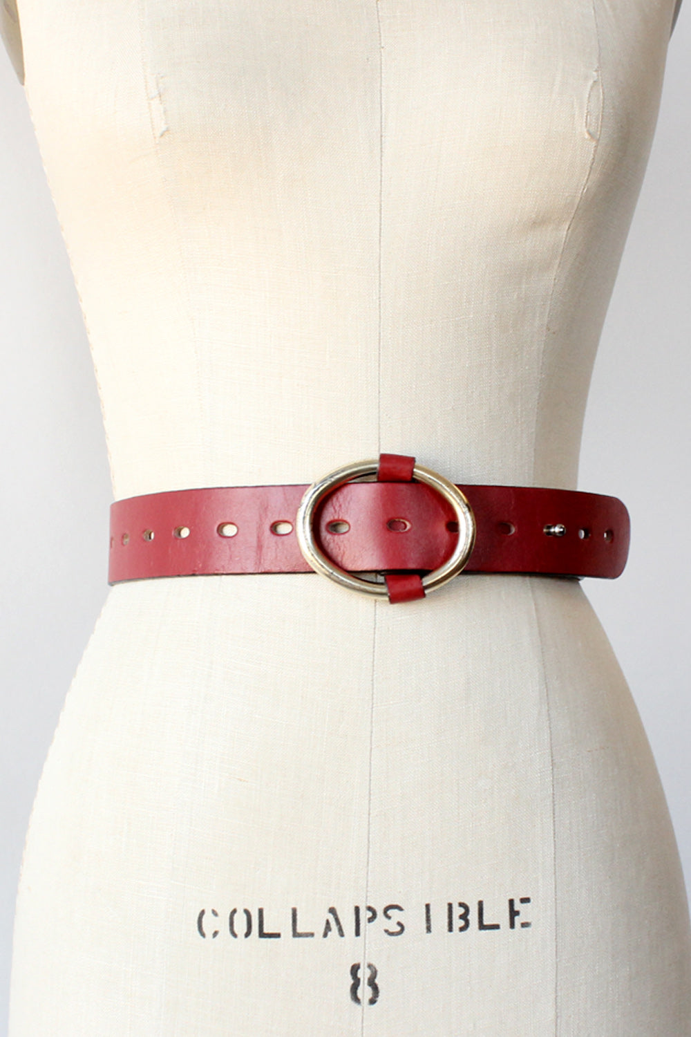 Cranberry Leather Peg Belt