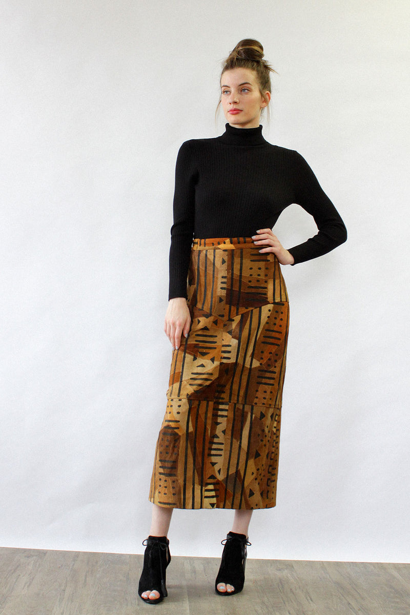 Leather Mudcloth Print Skirt L