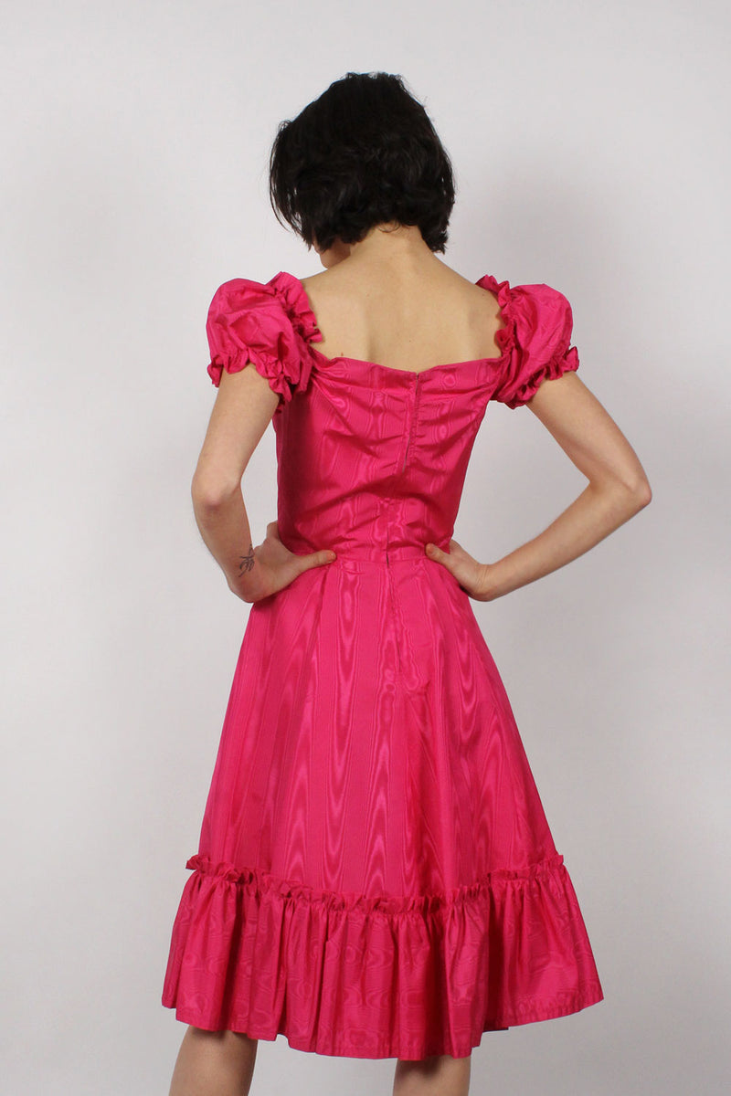 Hot Pink Moiré Dress XS