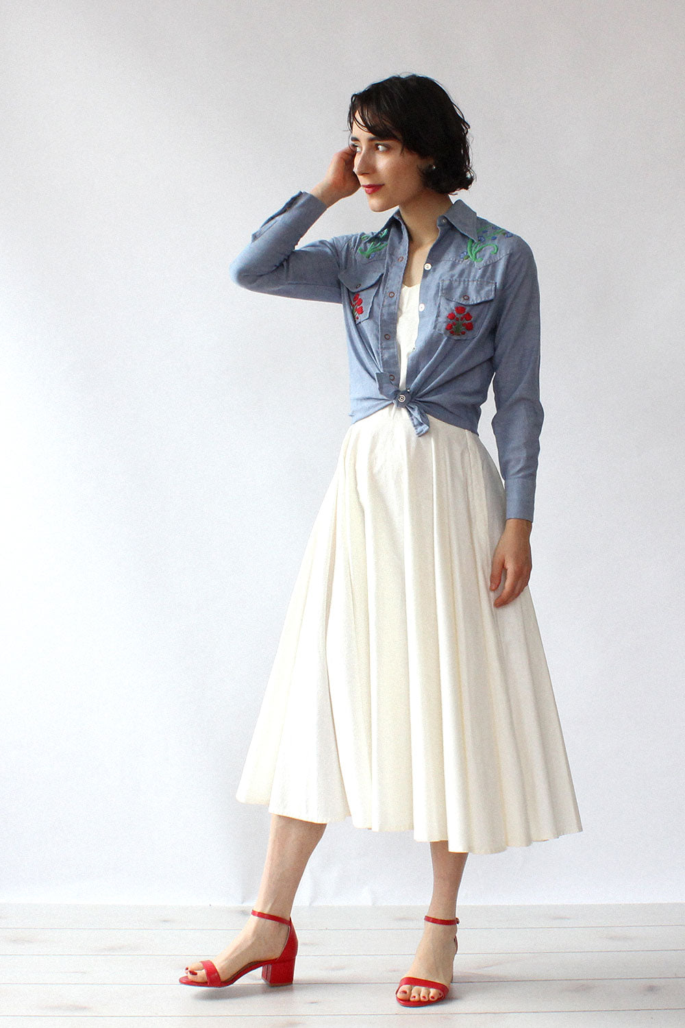 Maverick Embroidered Chambray Top XS