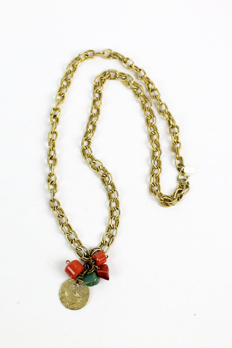 coral & gold necklace