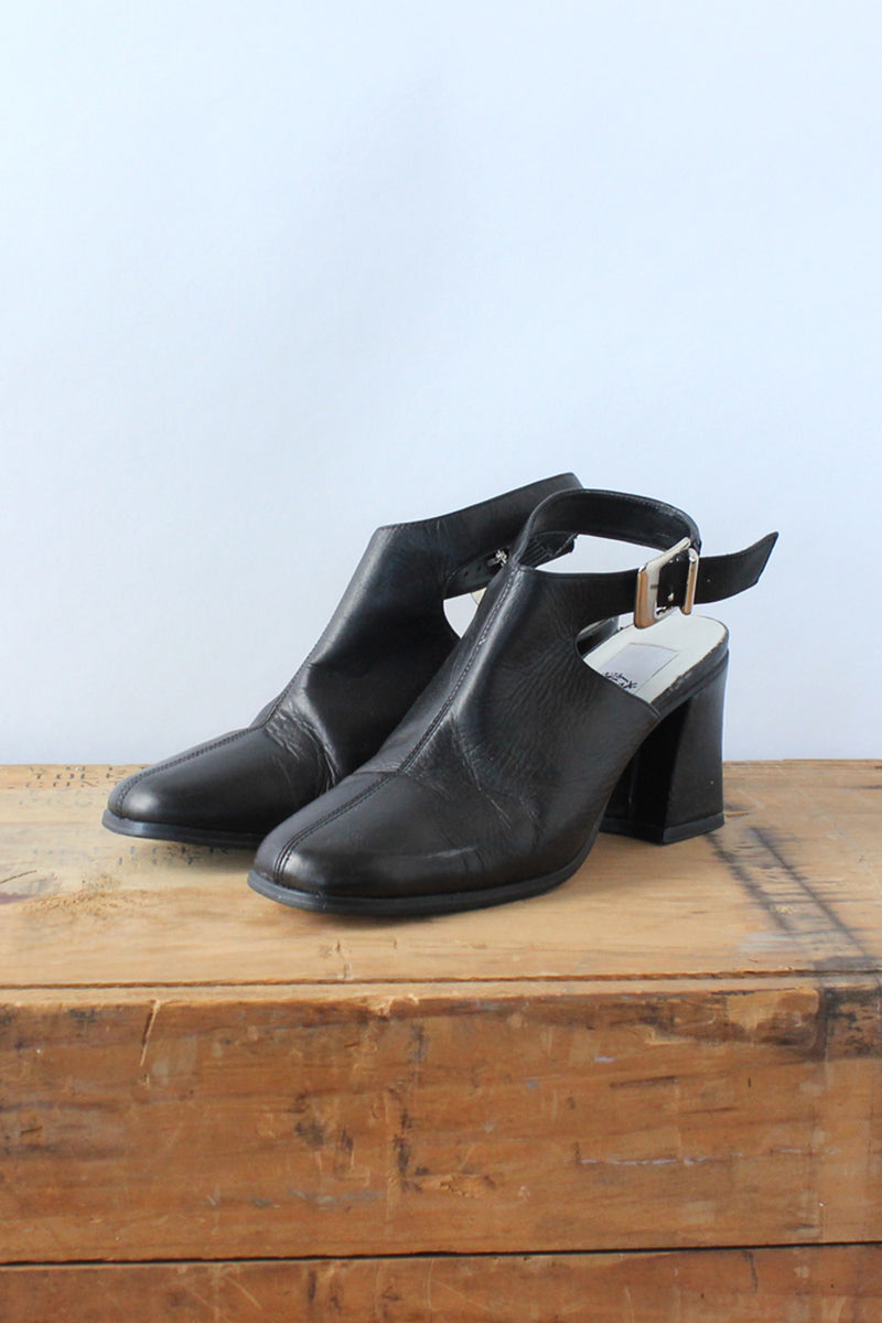 Planet Leather Buckle Mules 5.5-6