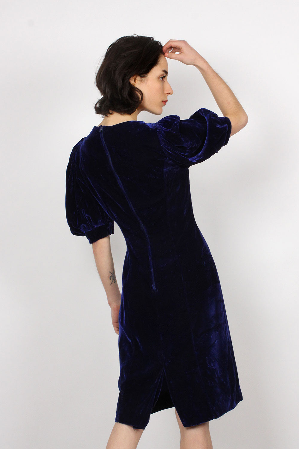 Midnight Velvet Puff Sleeve Dress S/M