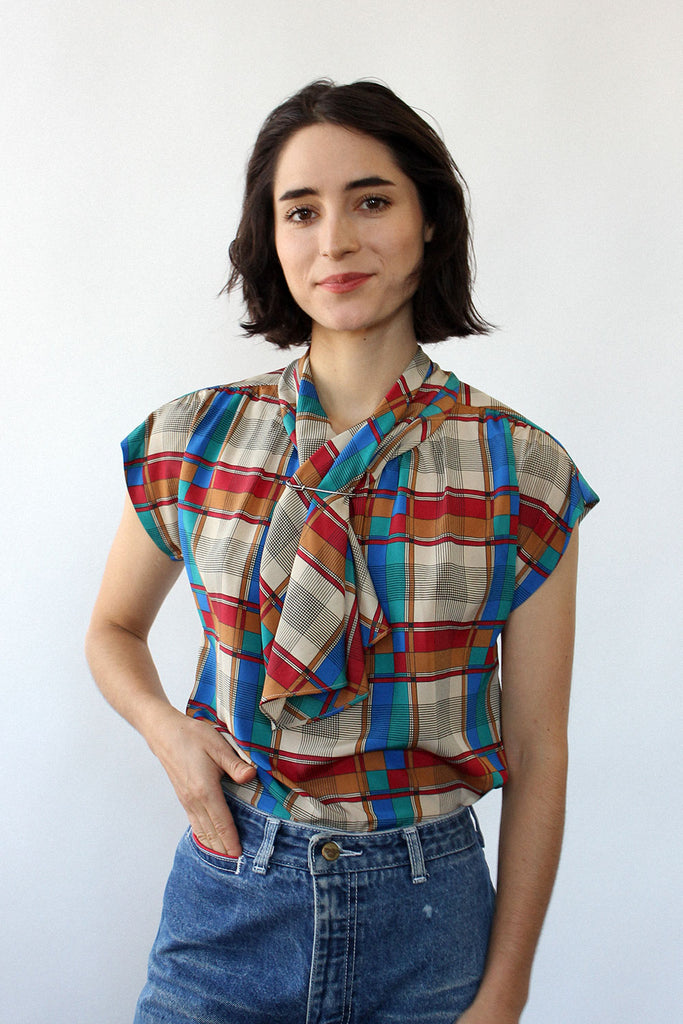 Plaid Scarf Blouse XS/S