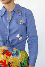Chambray Embroidered Button Down XS