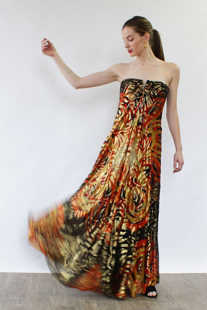 Fireball Silk Metallic Gown S/M