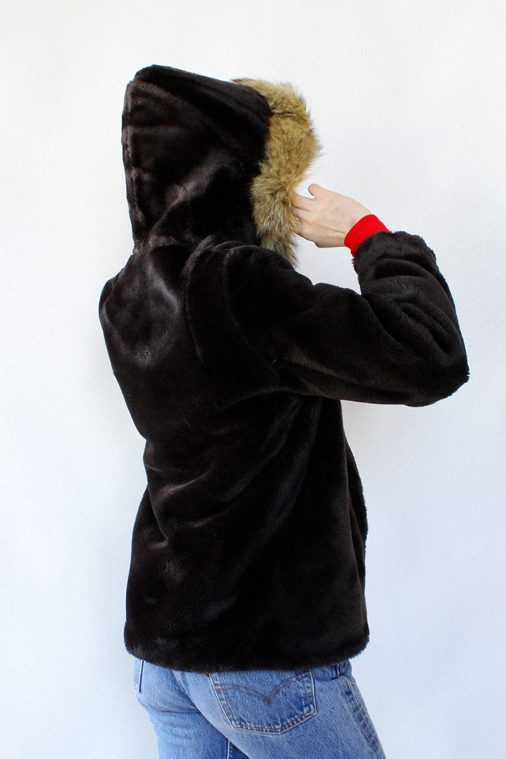 Brown Bear Faux Fur Hooded Coat S/M