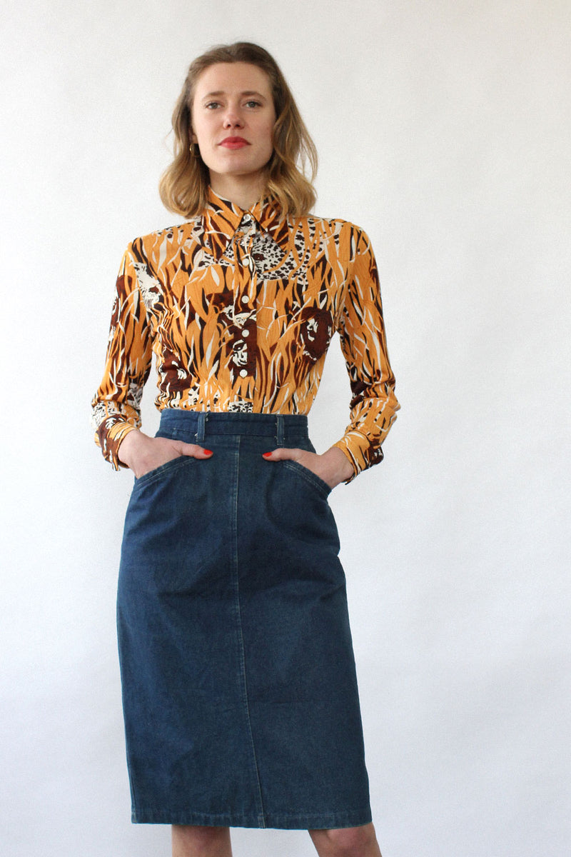 Indigo Denim Pencil Skirt S
