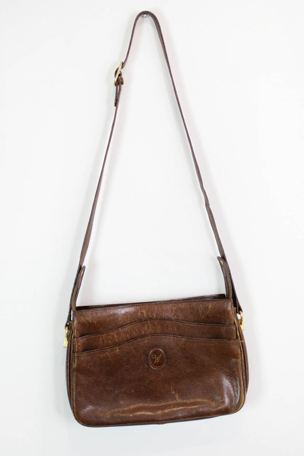 Distressed Leather Accordion Bag