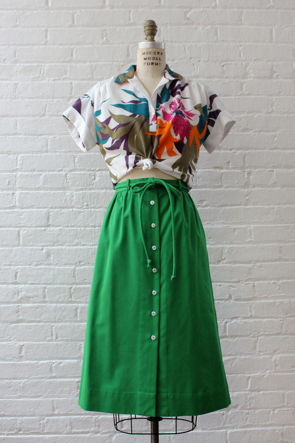 Kale Button Skirt S