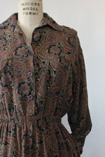 Forest Paisley Silk Dress S