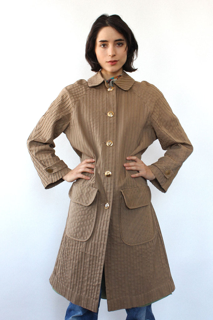 Pintucked Khaki Trench Coat S