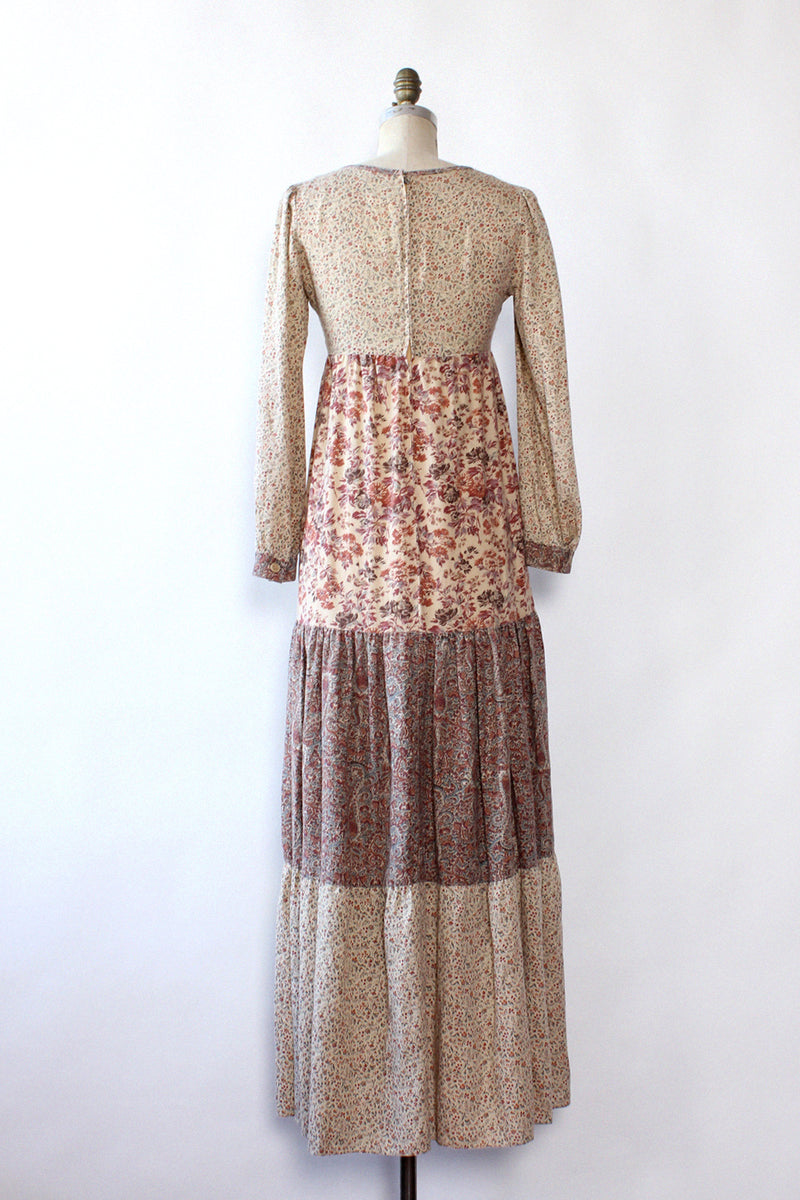 Mixed Print Boho Peasant Dress S/M
