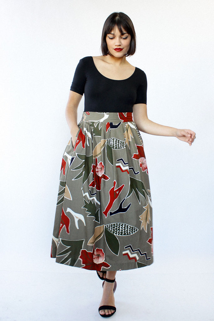 Abstract Nature Cotton Skirt L/XL