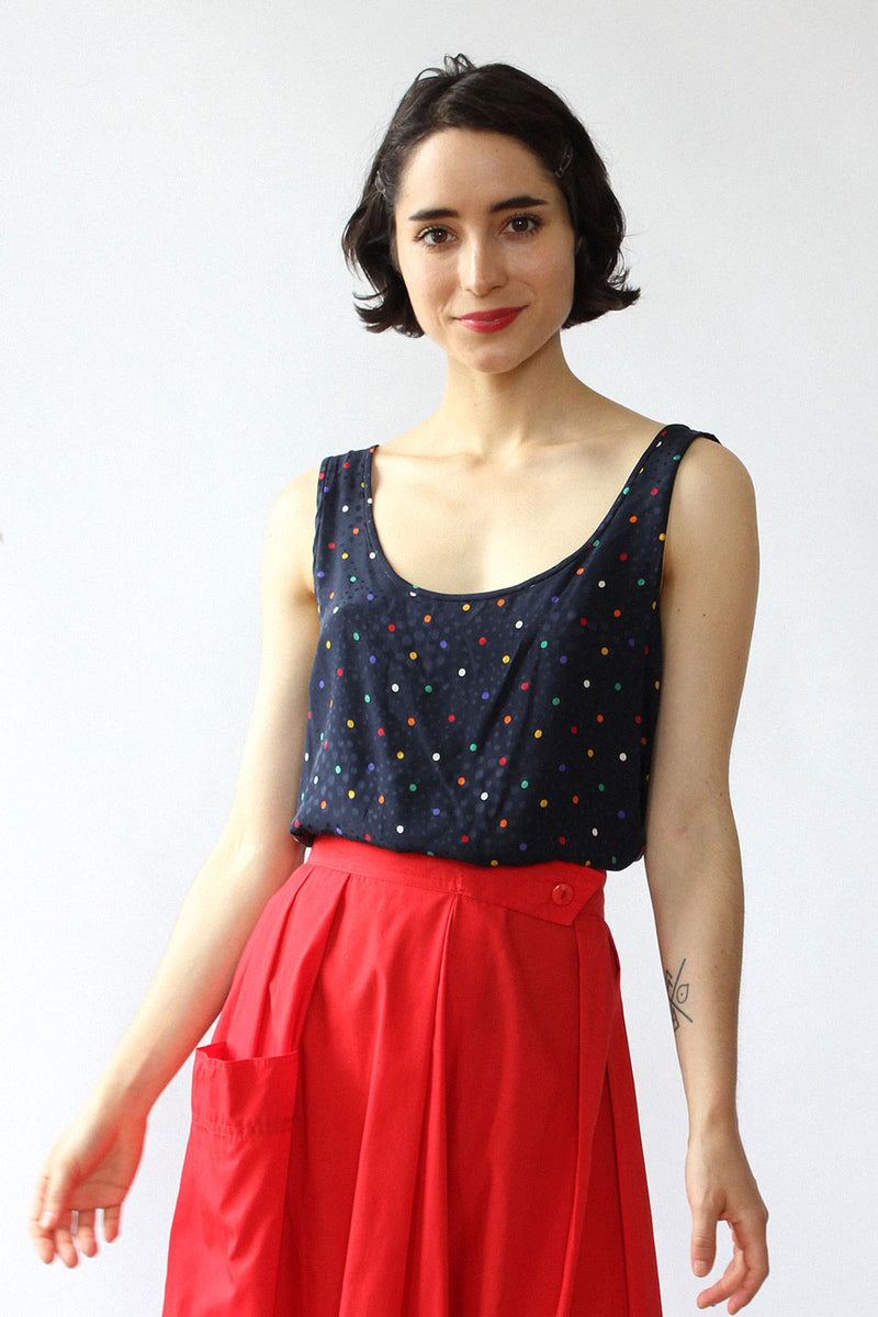 Candy Dot Silk Tank S/M