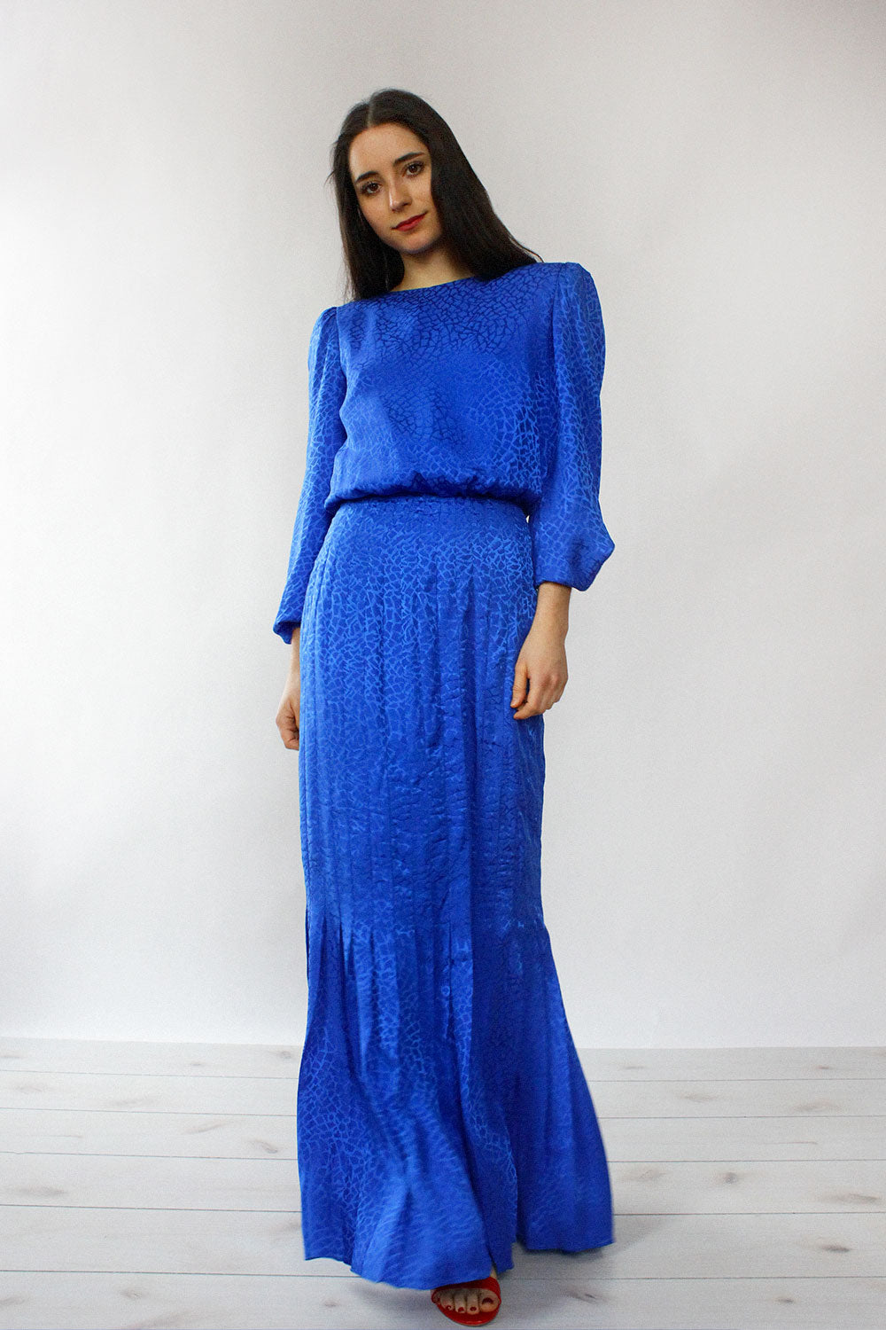 Cobalt Silk Pleated Maxi S/M