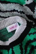 Green Metallic Zebra Sweater S/M/L