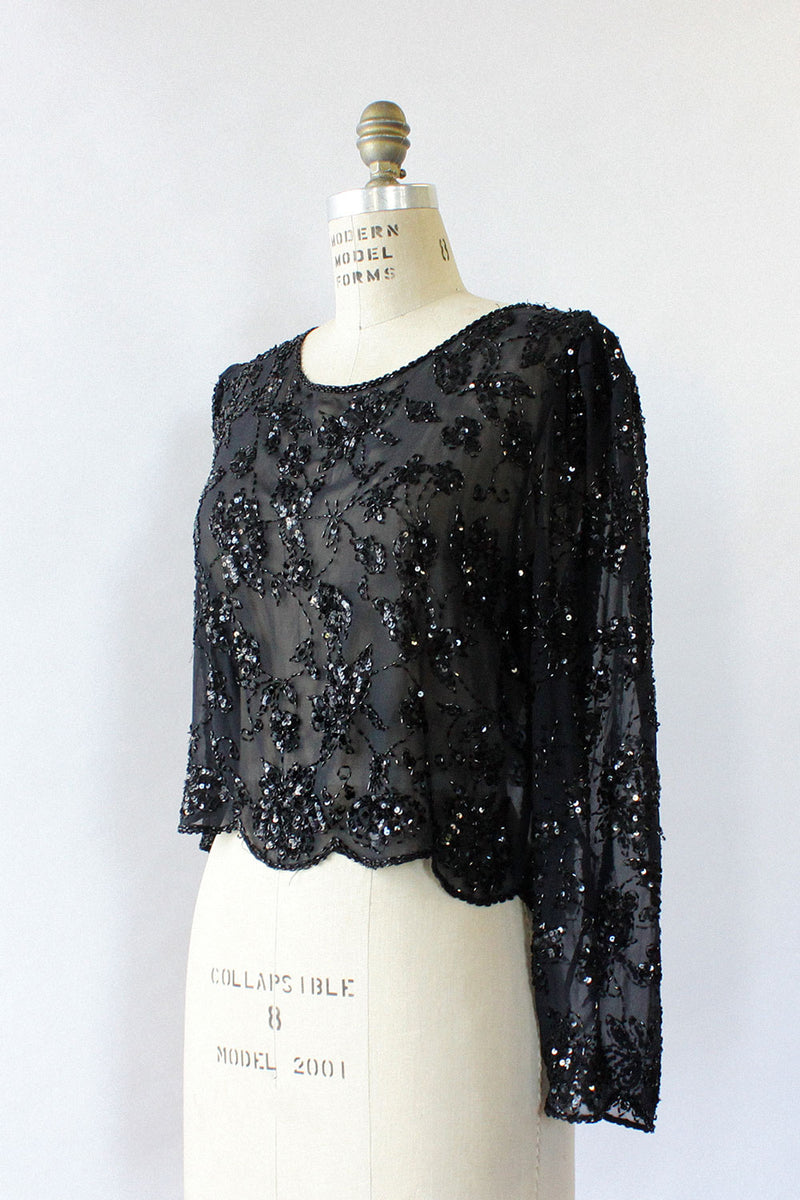 Sheer Beaded Top M