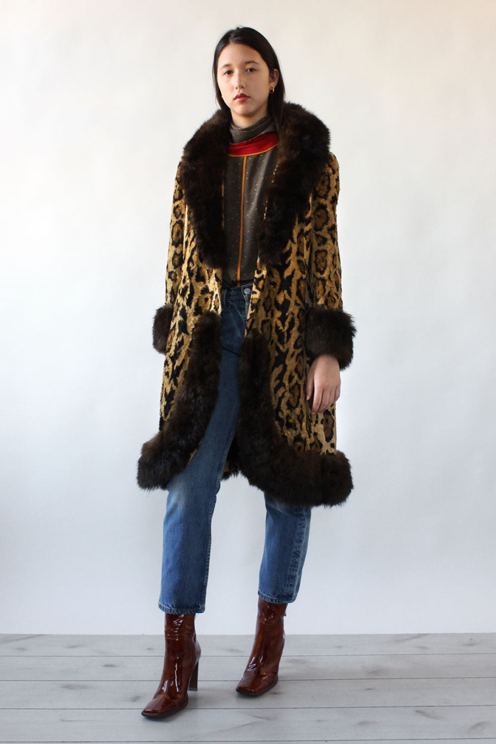 Leopard Print Fur Trim Coat S/M