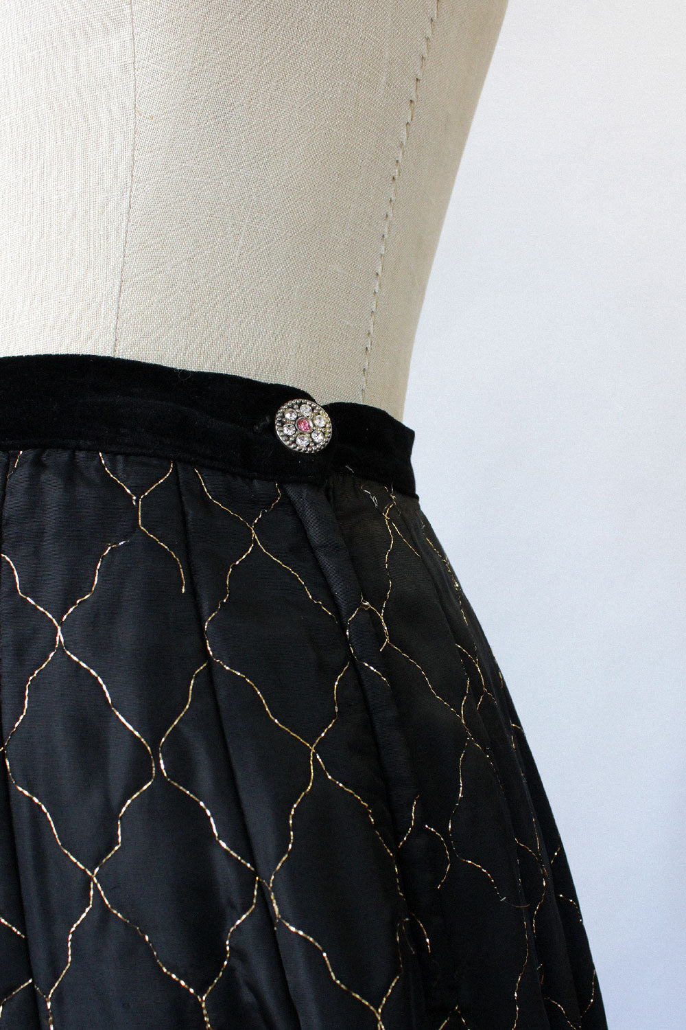 Quilted Metallic Circle Skirt S