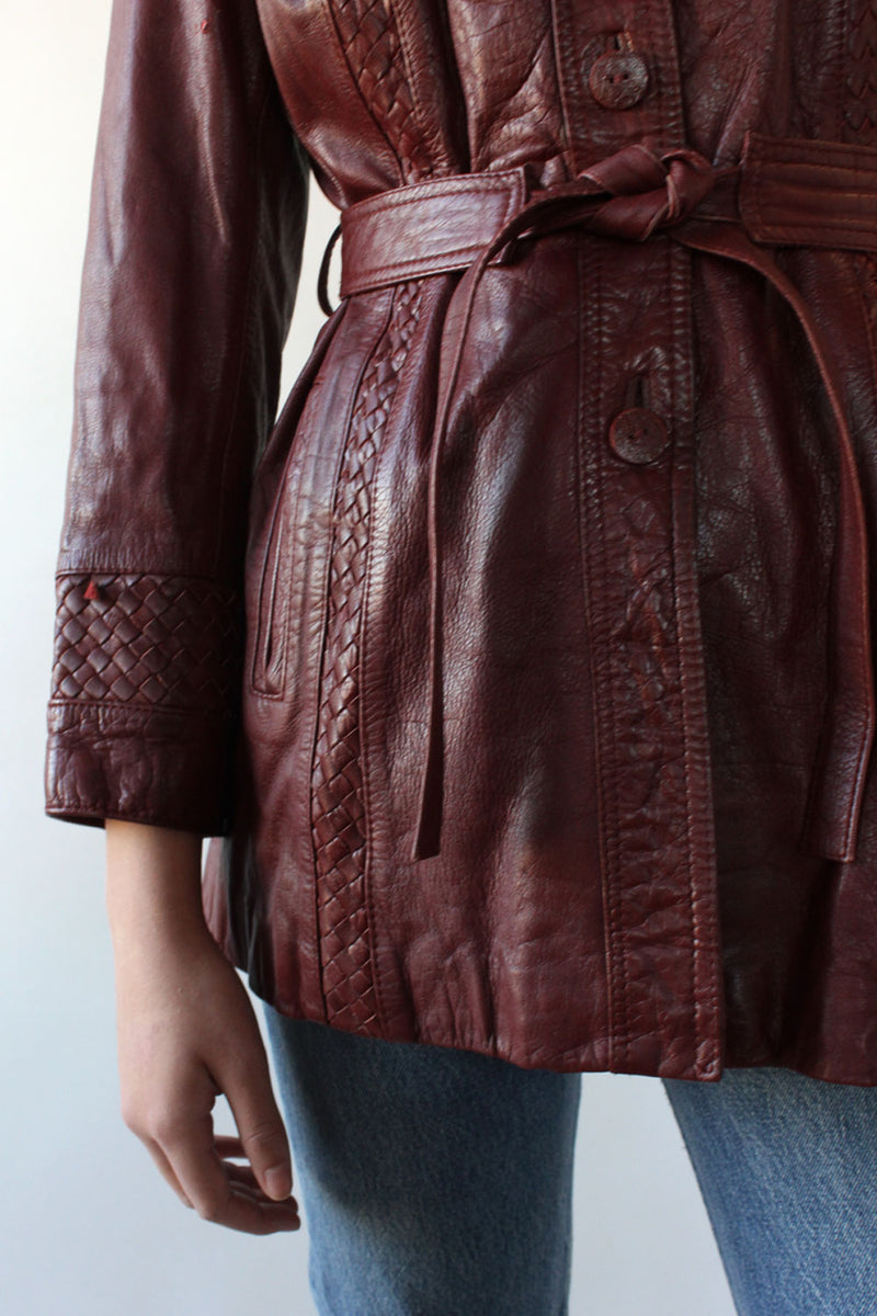 Supple Burgundy Leather Belted Jacket M