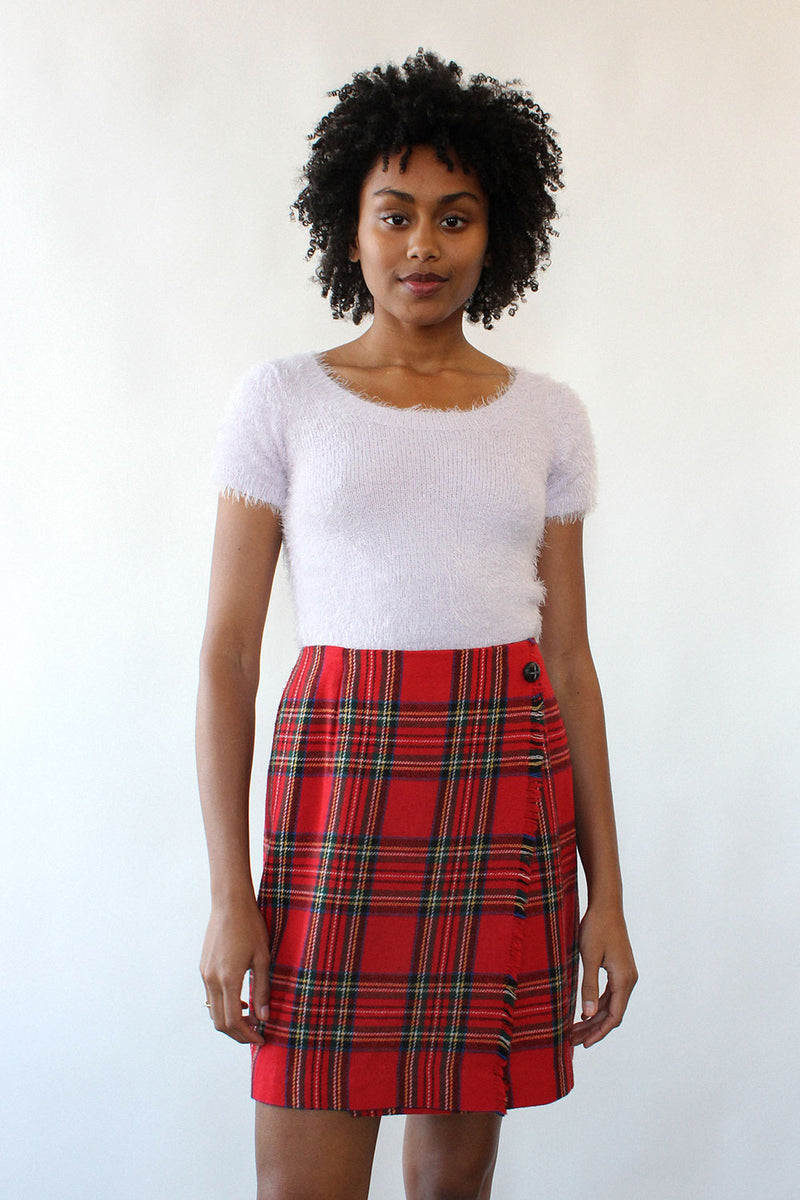 Holiday Cheer Plaid Mini Skirt L