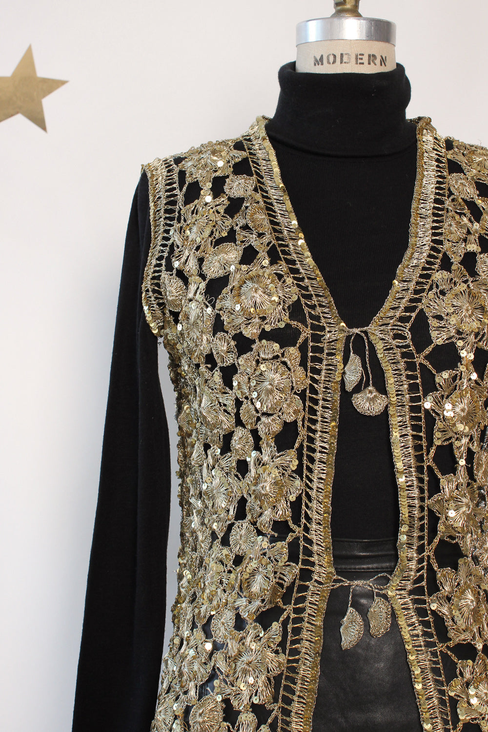 Golden Metal Crochet Vest S-L