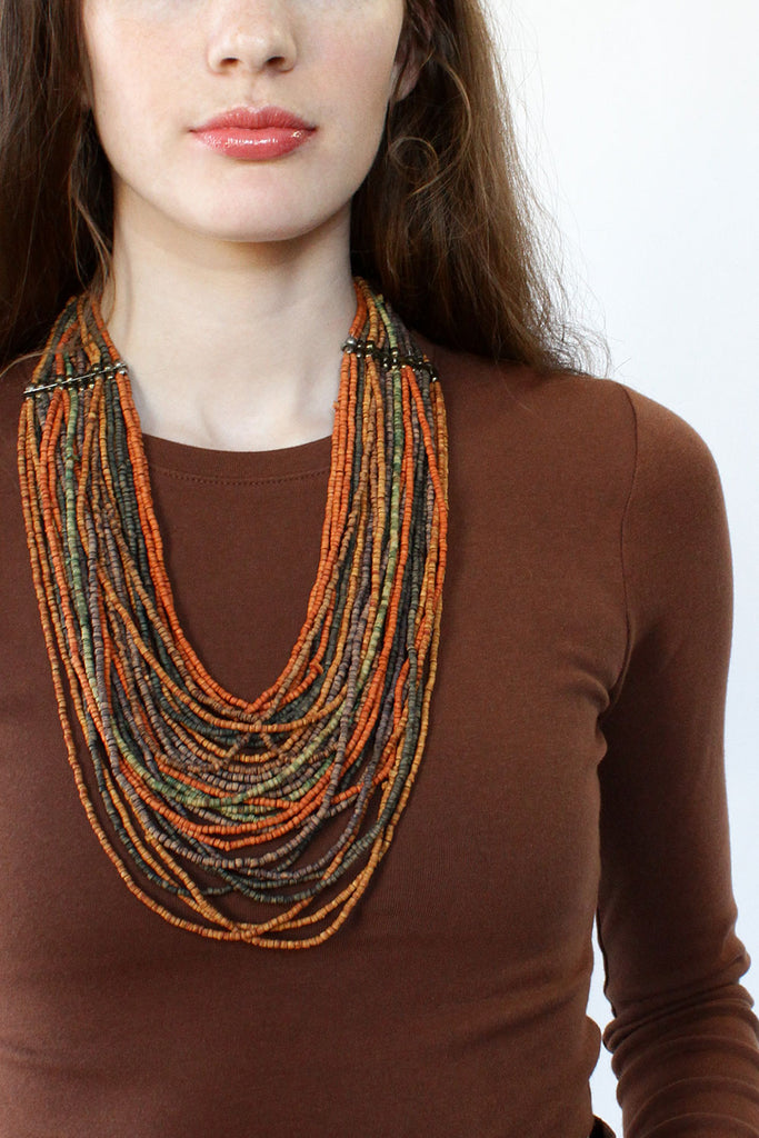 Earthtone Beaded Bib Necklace