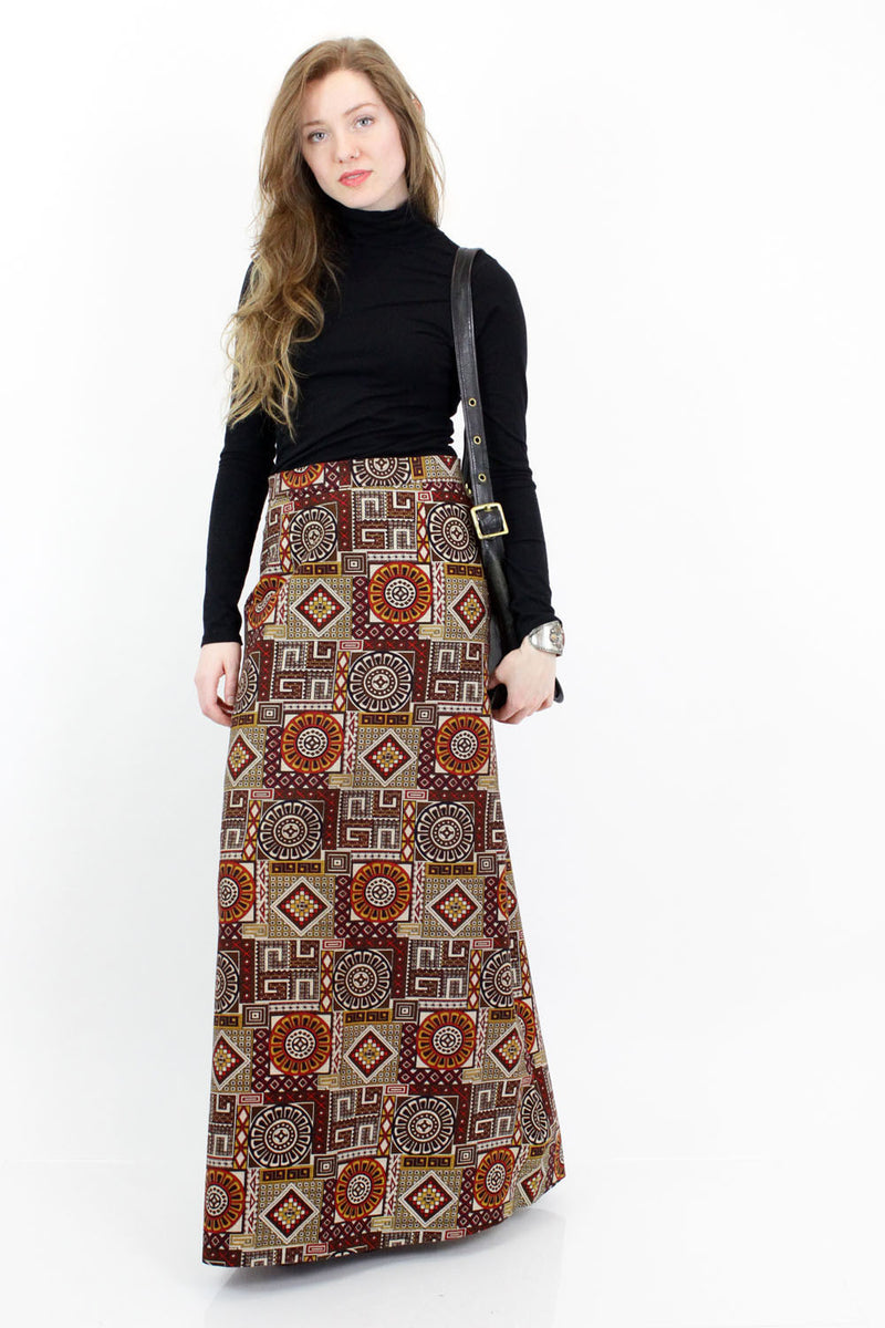70s Tribal Print Maxi Skirt S