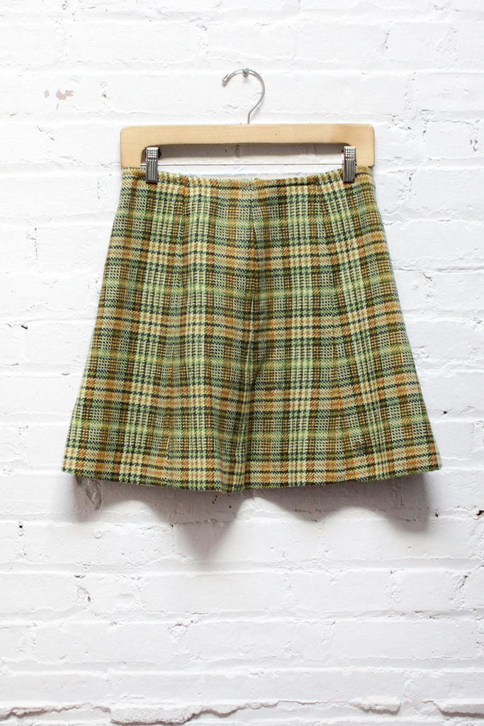60s Green Plaid Skater Skirt S/M