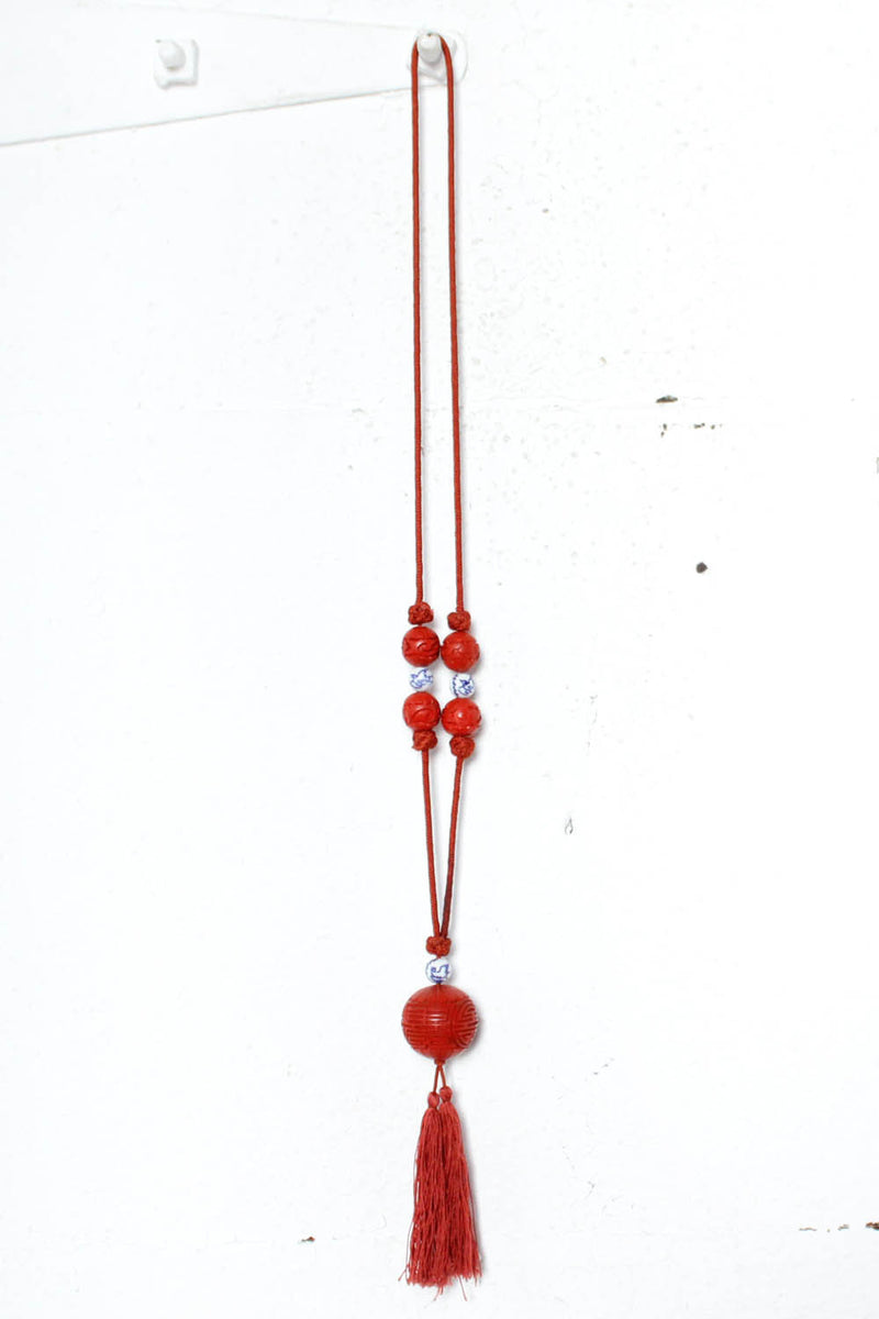 Cinnabar Bead Necklace