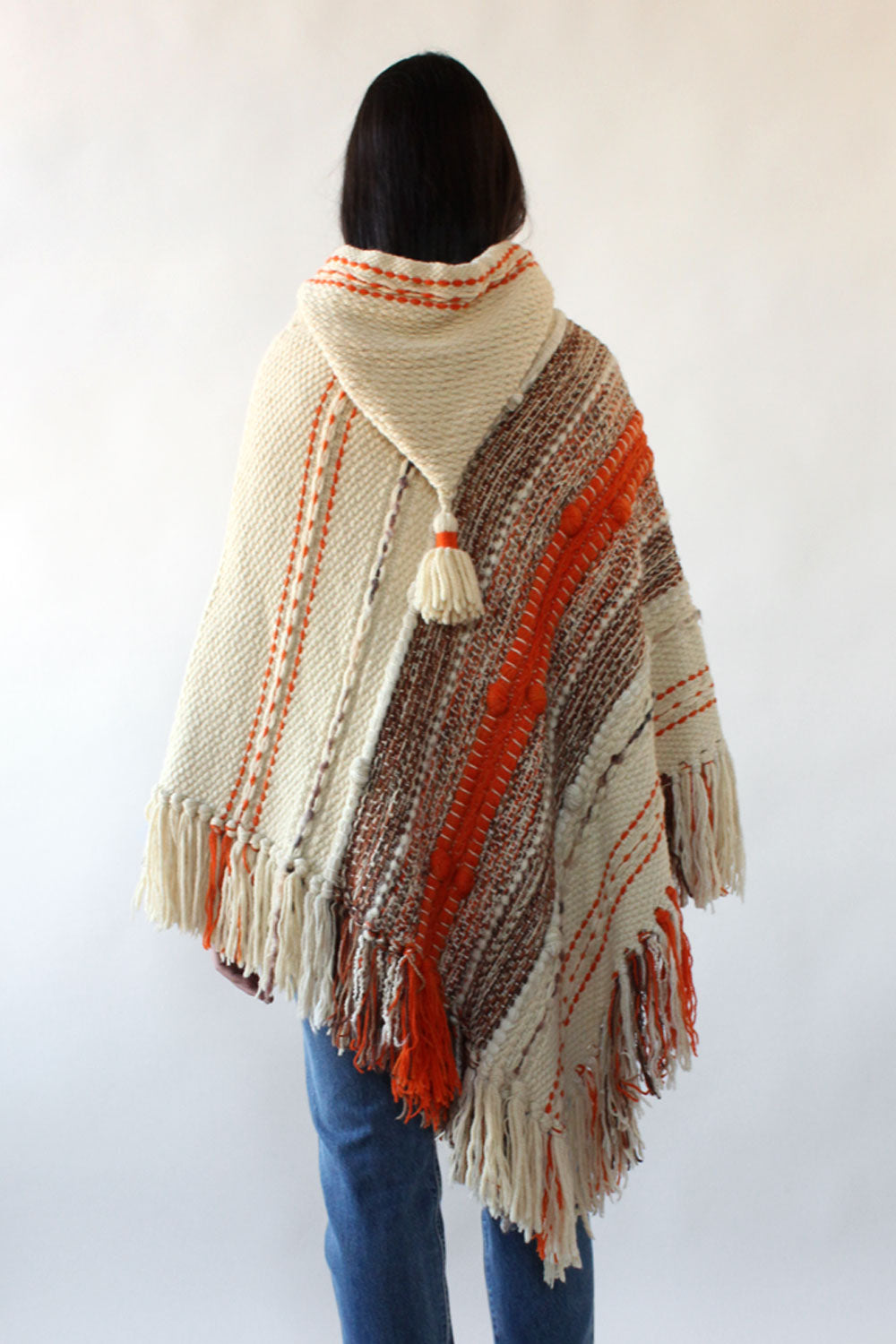 Knotty Fringe Hooded Poncho