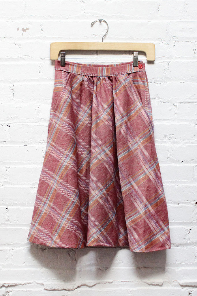 Rose Plaid Flare Skirt XS