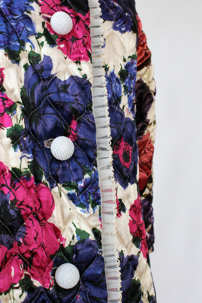 Quilted Floral Flare Bed Jacket S/M