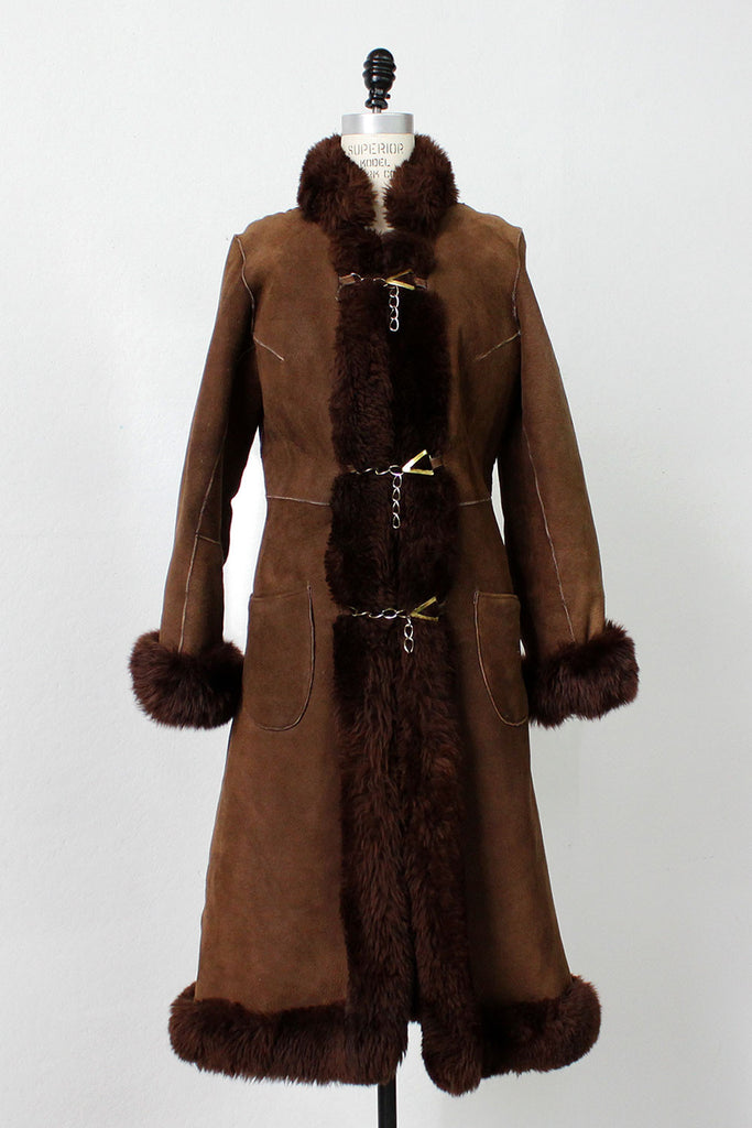 Chocolate Shearling Coat XS/S
