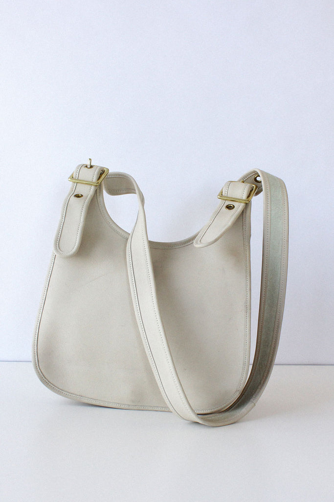 Ivory Leather Saddle Bag