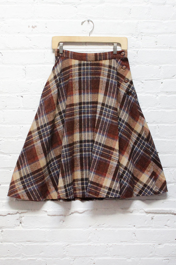 Cocoa Plaid Flare Skirt S