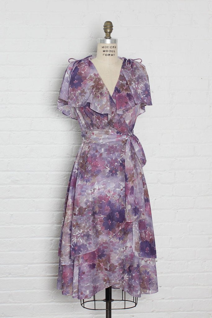 Watercolor Floral Wrap Dress XS/S