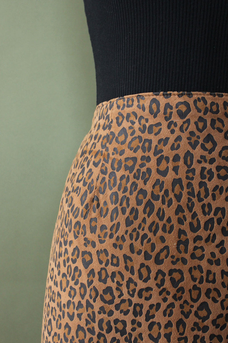 Leopard Suede Pencil Skirt M