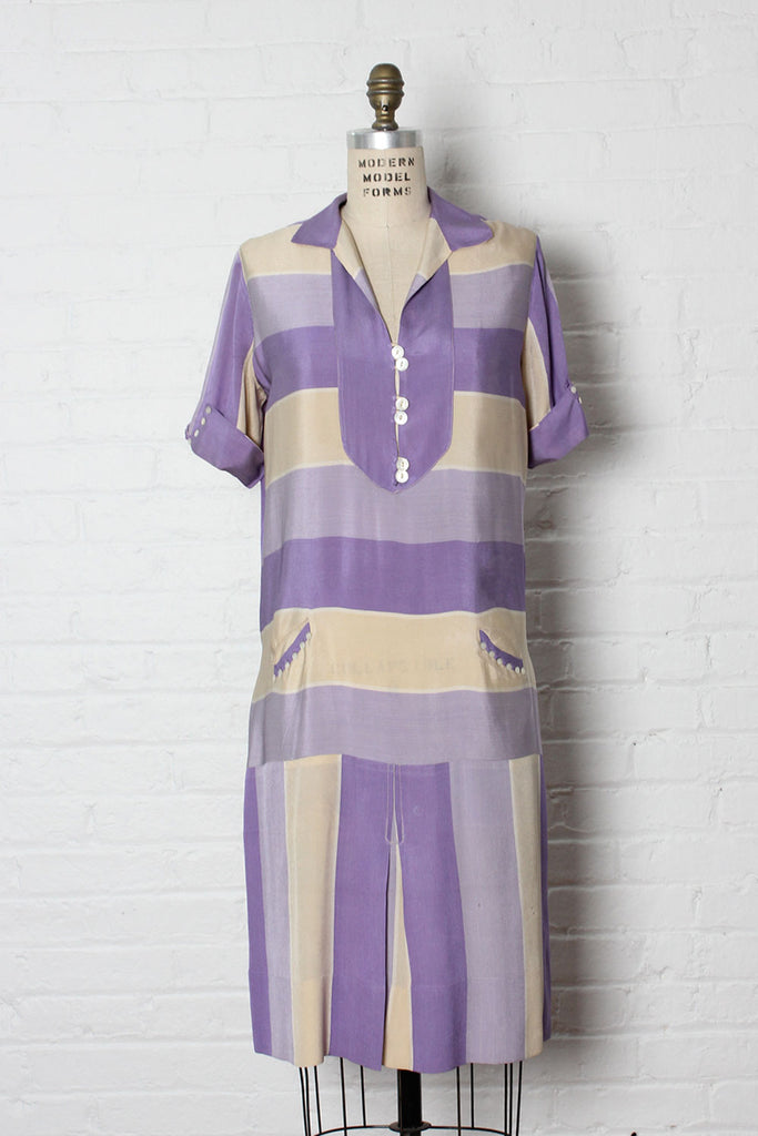 1920s Orchid Silk Stripe Dress S/M