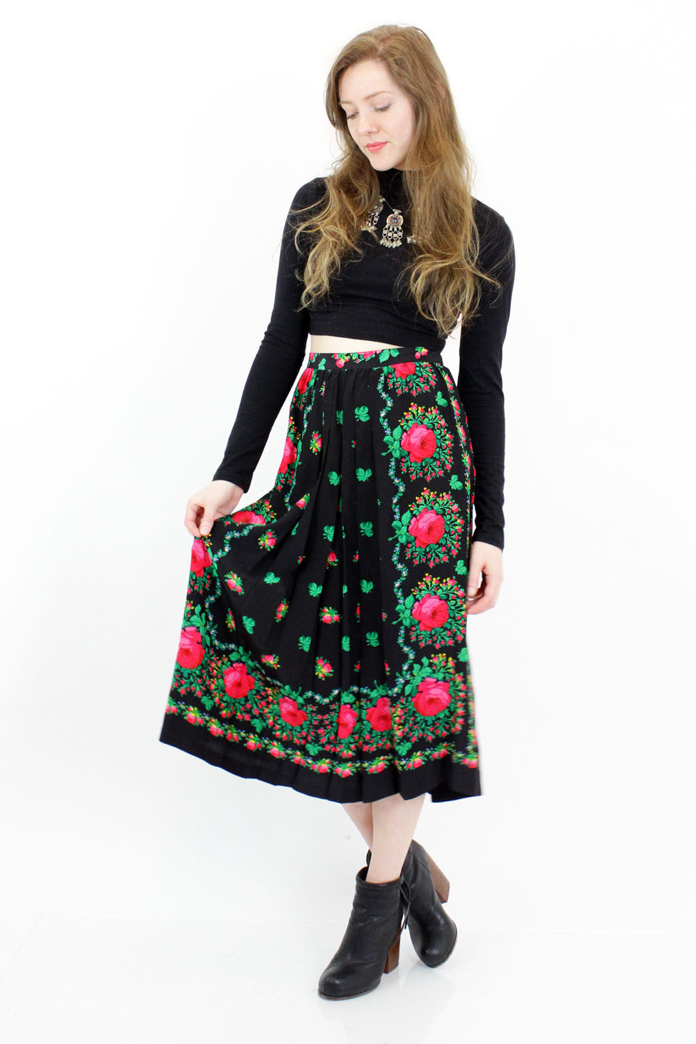 Silk Rose Babushka Skirt M/L