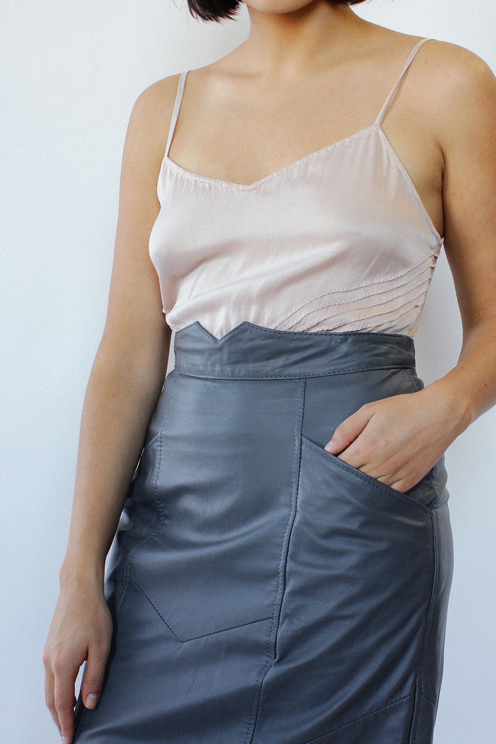 Pewter Paneled Leather Midi Skirt M