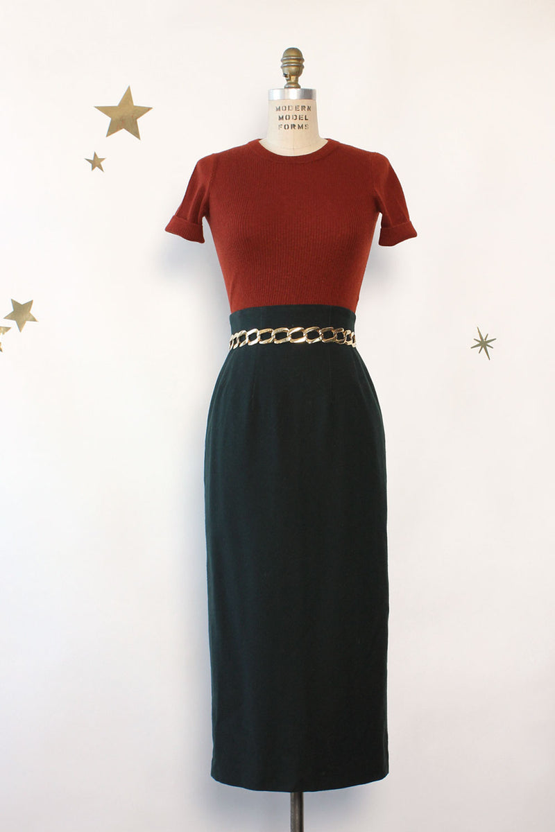 Spruce Wool Pencil Skirt S
