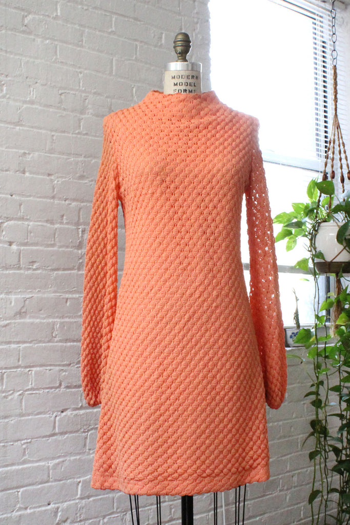 Coral Crochet Shift Dress M/L