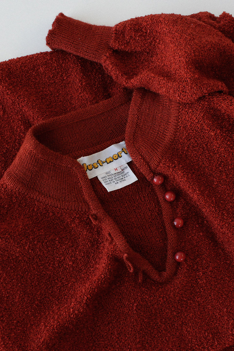 Rust Bouclé Sweaterdress M