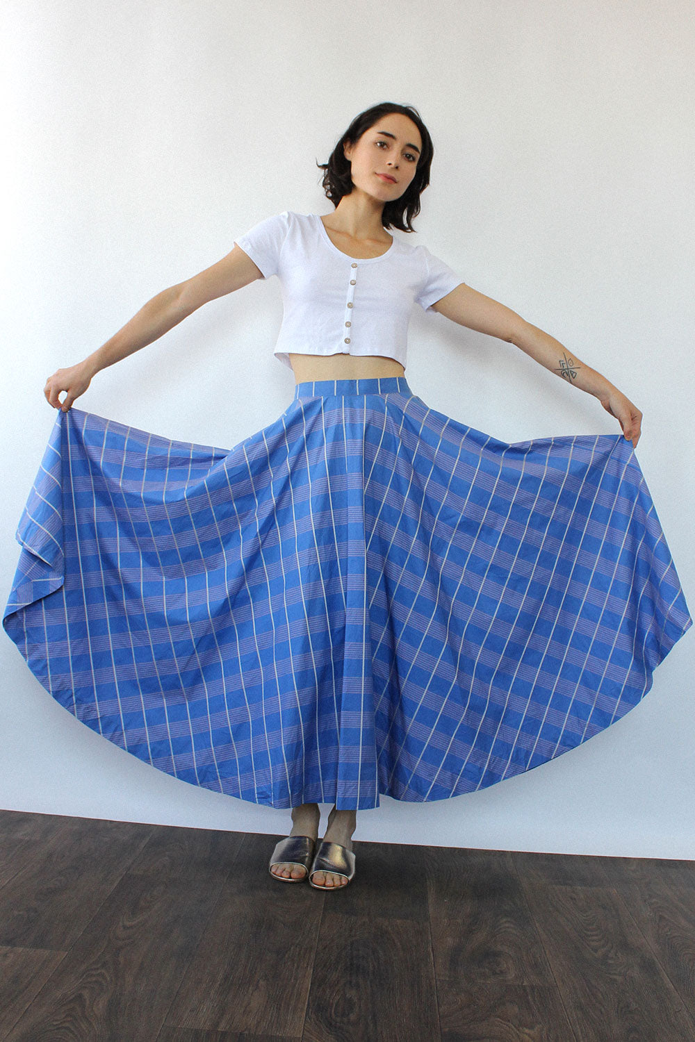 Lavender Line Circle Skirt S